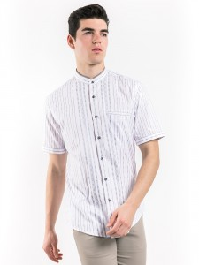 SLIM FIT STRIPED SHIRT WITH MOCK LAYER COLLAR