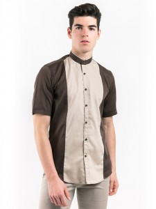 SHORT SLEEVES STRIPED SHIRT WITH MOCK LAYER COLLAR