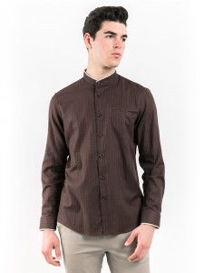 SLIM FIT CHECKED SHIRT WITH MOCK LAYER COLLAR