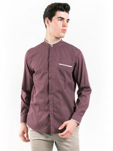 SLIM FIT PATTERNED SHIRT WITH MOCK LAYER COLLAR
