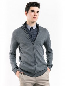 ZIPPED COTTON CARDIGAN WITH PATCHED ELBOW