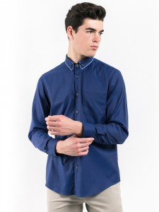 SLIM FIT PLAIN SHIRT WITH BUTTON-DOWN COLLAR