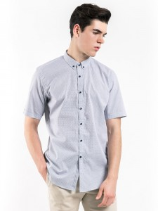 SHORT SLEEVES PATTERNED SHIRT WITH BUTTON DOWN COLLAR