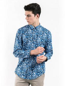 SLIM FIT PATTERNED SHIRT WITH SPREAD COLLAR