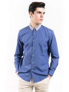 SLIM FIT PLAIN SHIRT WITH CONTRAST COLLAR