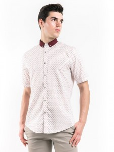 SHORT SLEEVES PRINTED SHIRT WITH CONTRAST COLLAR