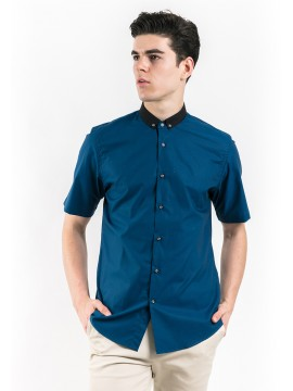 SHORT SLEEVES SHIRT WITH CONTRAST COLLAR