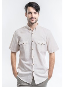 SHORT SLEEVES CREAM PLAIN SHIRT