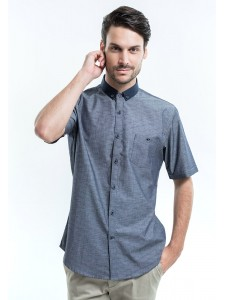 SHORT SLEEVES PRINTED SHIRT WITH CONTRAST BUTTON-DOWN COLLAR