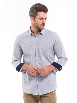 SLIM FIT PATTERNED SHIRT WITH BUTTON-DOWN COLLAR